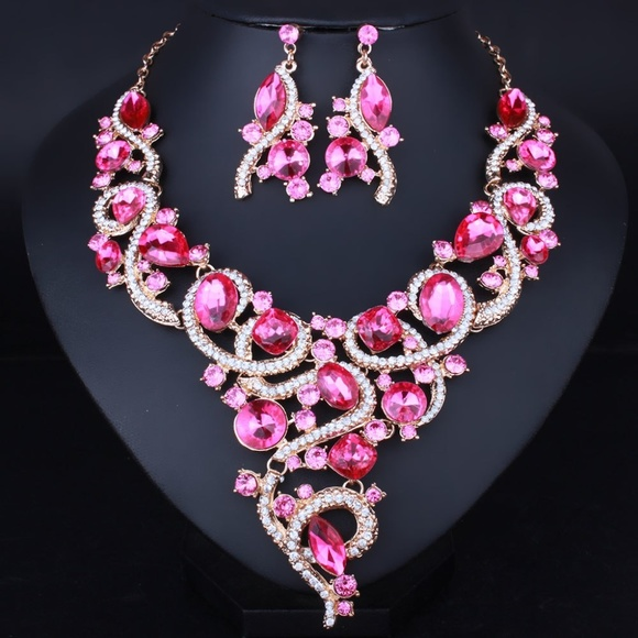 f3d2c2affacd1 NS3   Pink Evening Jewelry Prom Wedding Set Boutique